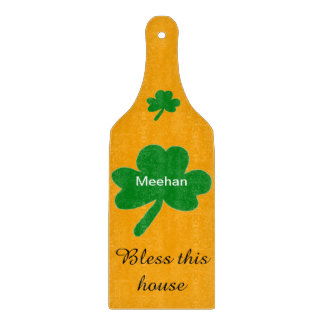 Shamrock Family Name Bless This House Cutting Board