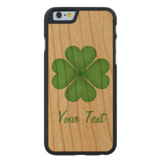 Shamrock Four leaf Clover Hearts Carved Cherry iPhone 6 Case