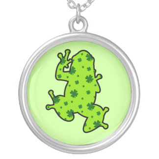 Shamrock Frog Silver Plated Necklace
