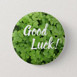 Shamrock good luck pinback button