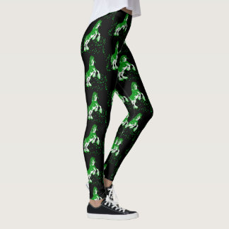 Shamrock Green and White Clydesdale Horse Leggings