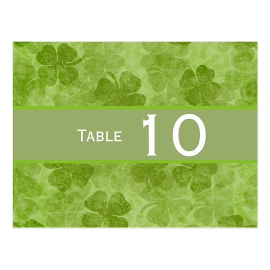 Shamrock Green Irish Wedding Table Number Postcard