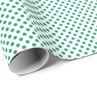 Shamrock Green on White Polka Dot Wrapping Paper
