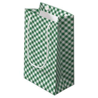 Shamrock Green, White Check Gingham Small Gift Bag