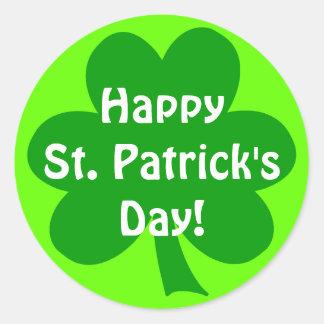 Shamrock Happy St. Patrick's Day Classic Round Sticker