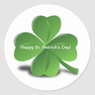 Shamrock Happy St. Patricks Day Holiday Clover Round Sticker