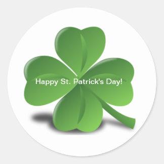 Shamrock Happy St. Patricks Day Holiday Clover Round Sticker