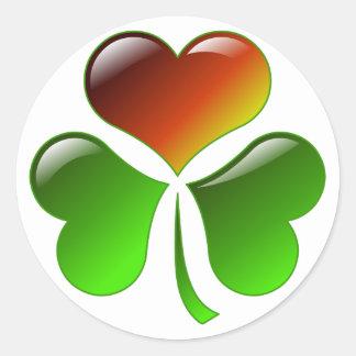 Shamrock Heart Round Sticker