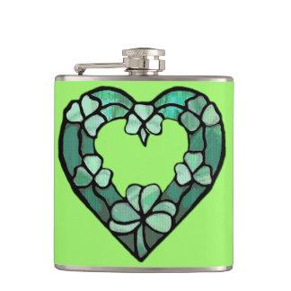 Shamrock Heart Wrapped Flask