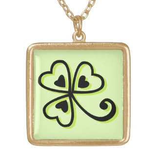 Shamrock Hearts Gold Plated Necklace
