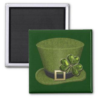 Shamrock Hearts Hat 1A Square Magnet
