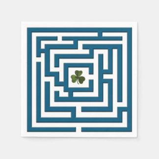 Shamrock in Blue Labyrinth Challenge Disposable Napkin
