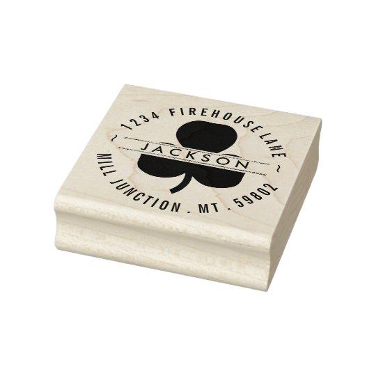 Shamrock In Circle Return Address Stamp