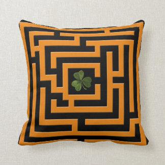Shamrock in Orange Labyrinth Challenge 2 in 1 Throw Pillow