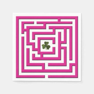 Shamrock in Pink Labyrinth Challenge Paper Napkins