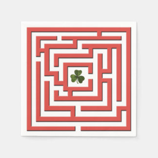 Shamrock in Red Labyrinth Challenge Paper Napkin