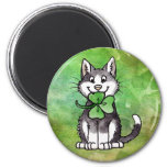 Shamrock Kitty 2 Inch Round Magnet