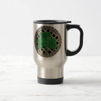 Shamrock, Lattice And Celtic Knots On Black Mug