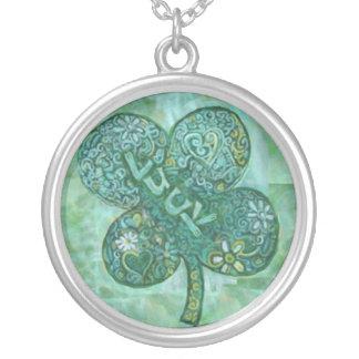 Shamrock Luck Round Pendant Necklace