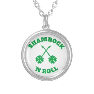 Shamrock 'n Roll Grunge Round Pendant Necklace
