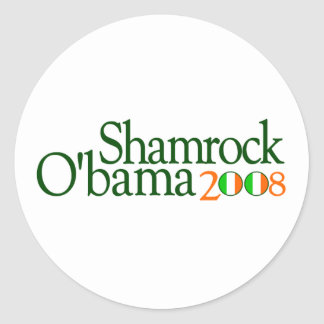 Shamrock Obama 2008 Round Sticker