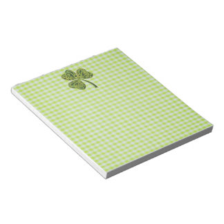Shamrock on Green Gingham Notepad