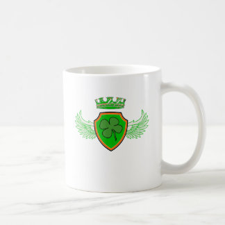 Shamrock on Shield with Wings and Crown Coffee Mug