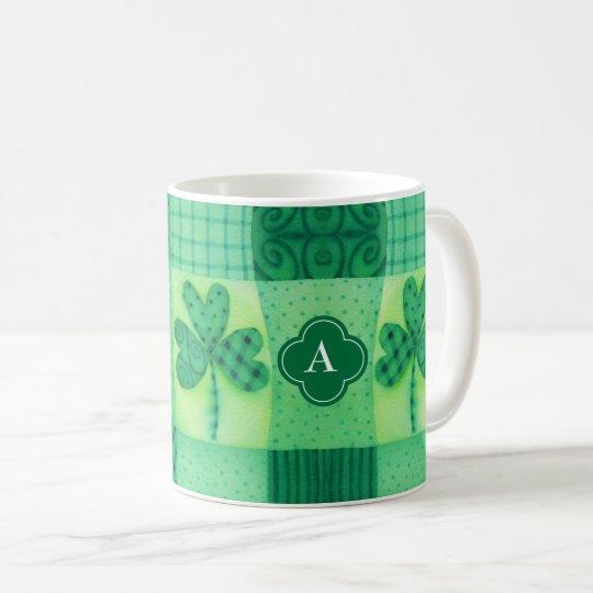 Shamrock Patchwork Monogram Coffee Mug