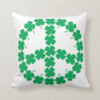 Shamrock Peace Symbol Throw Pillow