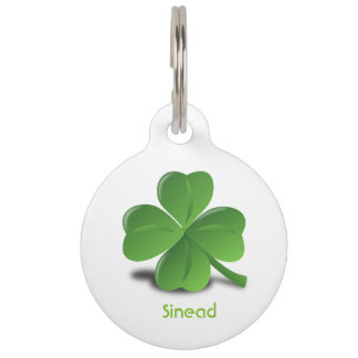 Shamrock personalized St Patrick's Day dog tag