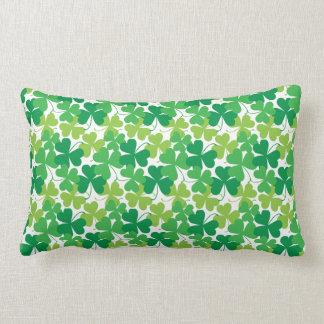 Shamrock Print Pillow, Irish Decor Lumbar Pillow