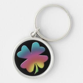 Shamrock Rainbow on Black Keychain