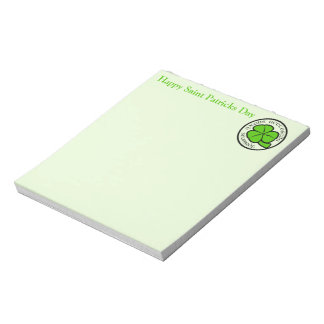 Shamrock Saint Patricks Day on light green Notepad