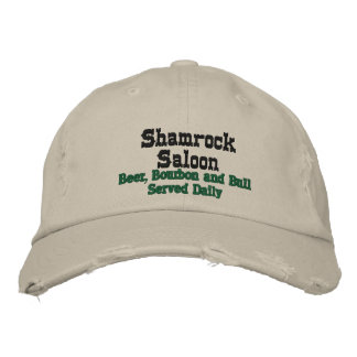 Shamrock Saloon, Beer, Bourbon and Bull Served ... Embroidered Hat