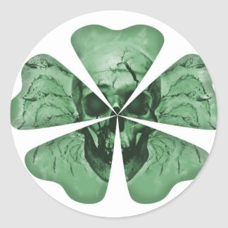 Shamrock Skull Classic Round Sticker