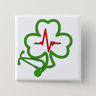 SHAMROCK STETHOSCOPE WITH HEARTBEAT 2 INCH SQUARE BUTTON