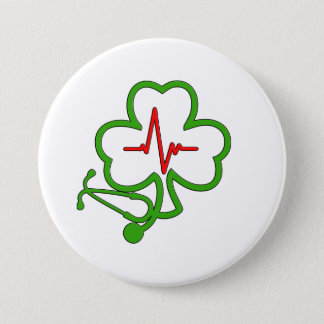 SHAMROCK STETHOSCOPE WITH HEARTBEAT 3 INCH ROUND BUTTON