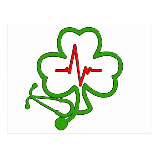SHAMROCK STETHOSCOPE WITH HEARTBEAT POSTCARD