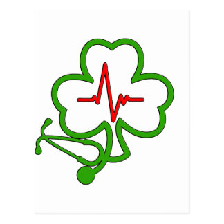 SHAMROCK STETHOSCOPE WITH HEARTBEAT POSTCARD