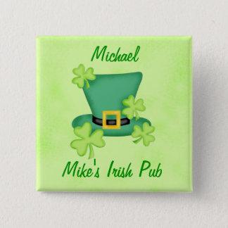 Shamrock Top Hat Irish Name Badge Pin
