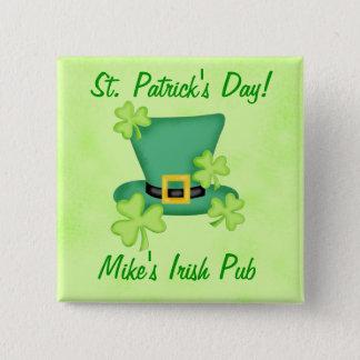 Shamrock Top Hat Irish St. Patricks Day Promotion 2 Inch Square Button
