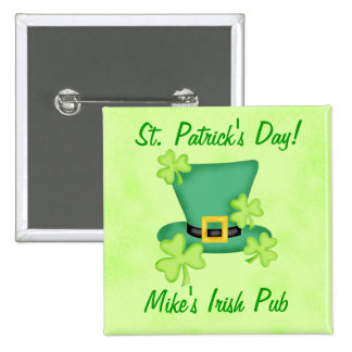 Shamrock Top Hat Irish St. Patricks Day Promotion 2 Inch Square Button