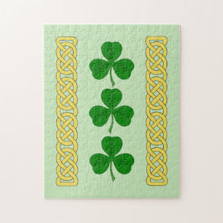 Shamrock Trio and Knotwork Bands Jigsaw Puzzle