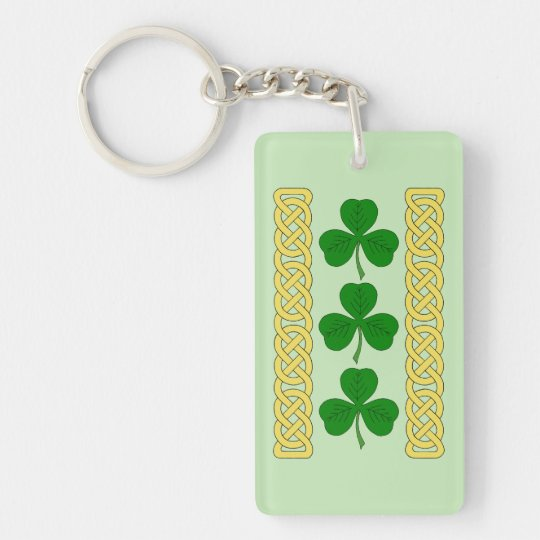 Shamrock Trio and Knotwork Bands Keychain