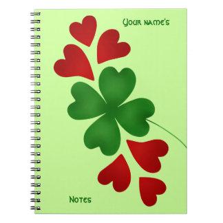 Shamrock with hearts notebooks
