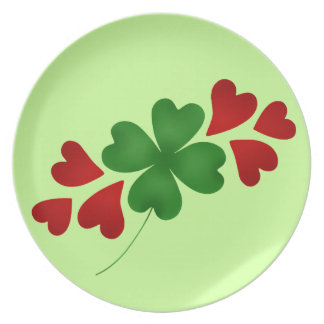 Shamrock with hearts plate