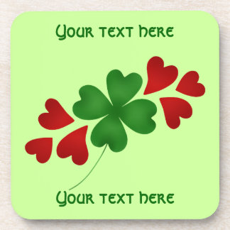 Shamrock with hearts St Patricks Day Beverage Coasters