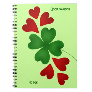 Shamrock with hearts St Patricks Day Spiral Note Books