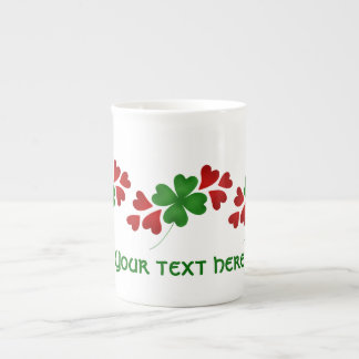 Shamrock with hearts St Patricks Day Tea Cup
