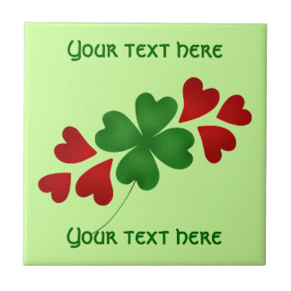 Shamrock with hearts St Patricks Day Tile